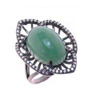 Кольцо женское серебряное 925* чернение авантюрин циркон Арт 15 7200