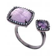 Кольцо женское серебряное 925* чернение аметист циркон Арт 15 7214