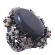 Кольцо женское серебряное 925* чернение гематит перламутр циркон Арт 15 6964