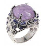 Кольцо женское серебряное 925* родий аметист циркон Арт 15 7265