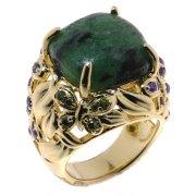 Кольцо женское серебряное 925* позолота цоизит циркон Арт 55 7265
