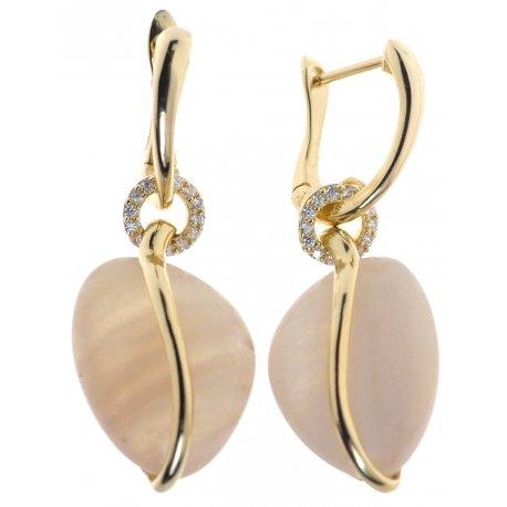 Сережки жіночі срібні 925* позолота цирконій місячний камінь Арт51 4337