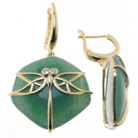 Серьги женские серебряные 925* позолота авантюрин циркон Арт 51 7892