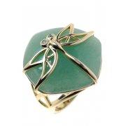 Кольцо женское серебряное 925* позолота авантюрин циркон Арт 55 6686