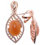 Серьги женские серебряные 925* позолота авантюрин циркон Арт 51 8695
