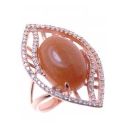 Кольцо женское серебряное 925* позолота авантюрин циркон Арт 55 7199