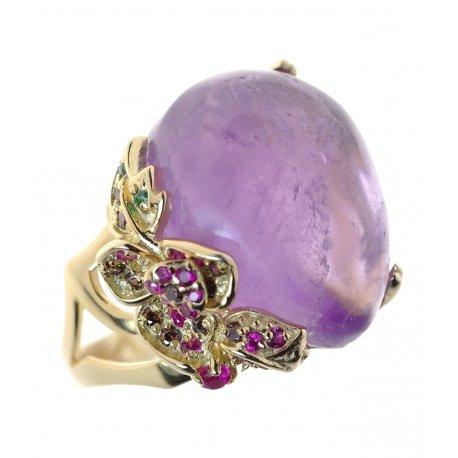 Кольцо женское серебряное 925* позолота аметист циркон Арт 55 7183