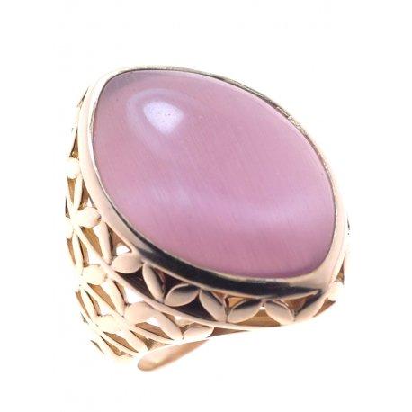 Кольцо женское серебряное 925* позолота кошачий глаз Арт 55 7028