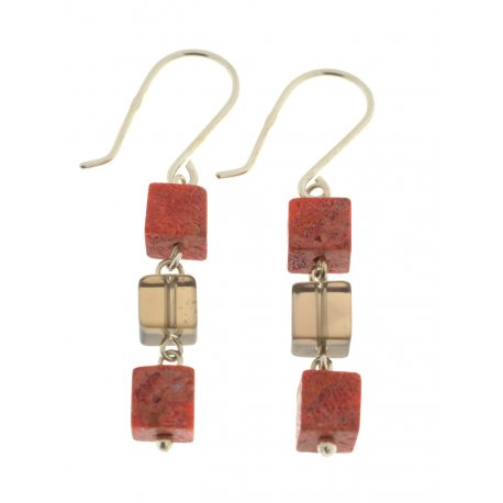 Серьги женские серебряные 925* коралл Арт 11 1208