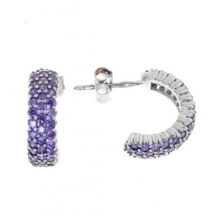 Серьги женские серебряные 925* родий цирконий Арт 115 0105