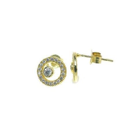 Серьги женские серебряные 925* позолота цирконий Арт 515 121