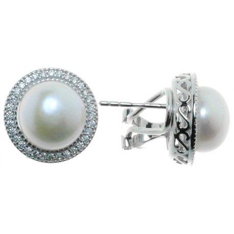 Серьги женские серебряные 925* родий цирконий культивированный жемчуг Арт11 6 0656