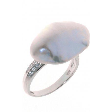 Кольцо женское серебряное 925* родий цирконий культивированный жемчуг Арт15 6 0419