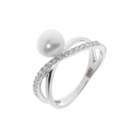 Каблучка жіноча срібна 925* родій цирконій культивовані перли Арт15 6 1871