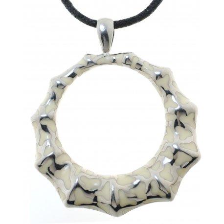 Колье женское серебряное 925* родий белая эмаль Арт 12 5863
