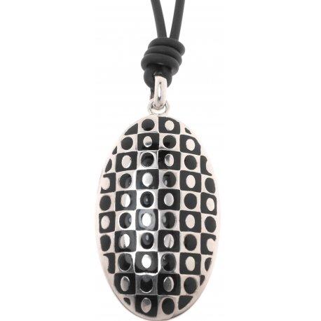 Кольє жіноче срібне 925* родій чорна емаль Арт 12 2 5125