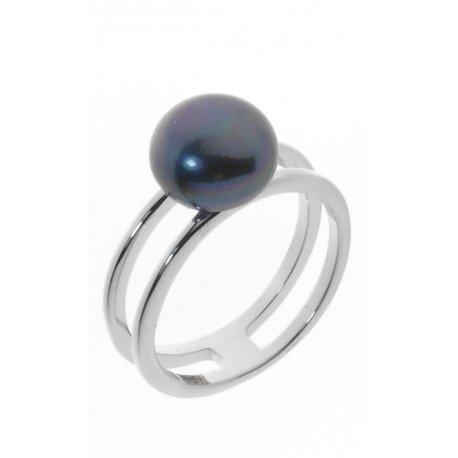 Кольцо женское серебряное 925* родий культивированный жемчуг Арт15 6 0763