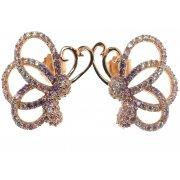 Серьги женские серебряные 925* позолота цирконий Арт 51 5577