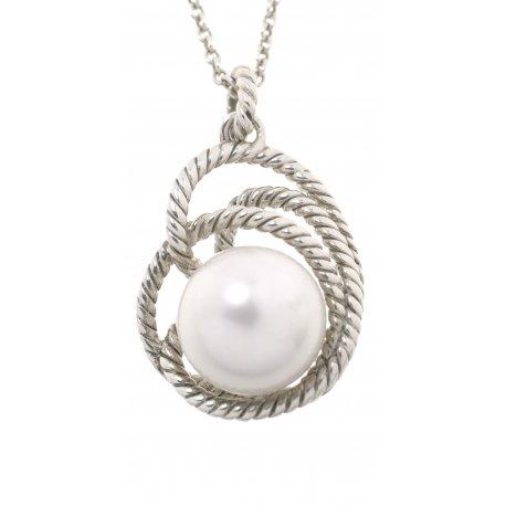 Колье женское серебряное 925* родий жемчуг Арт12 2 7356-136