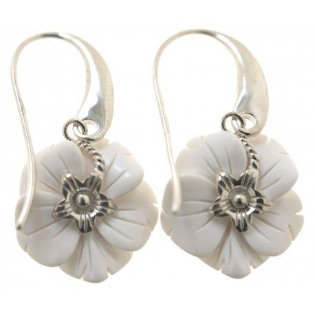 Серьги женские серебряные 925* родий синт. агат Арт 11 2 4047