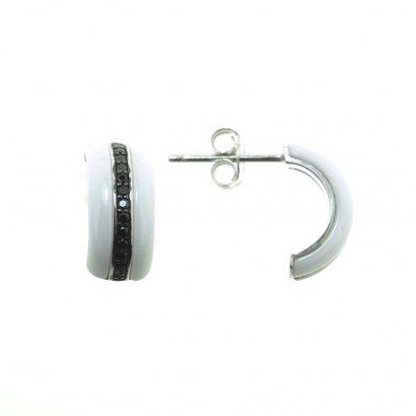 Серьги женские серебряные 925* керамика цирконий Арт 11 5 002б