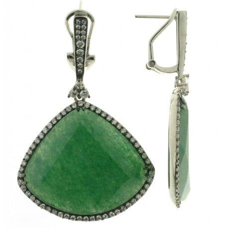 Серьги женские серебряные 925* родий авантюрин циркон Арт 11 5731