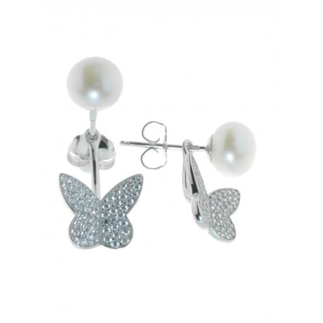 Сережки жіночі срібні 925* родій цирконій культивовані перли Арт11 6 0331