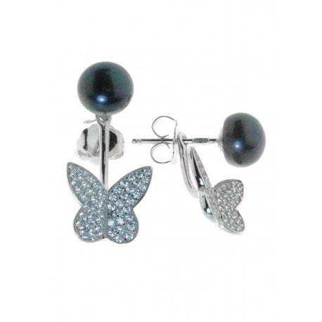 Серьги женские серебряные 925* родий цирконий культивированный жемчуг Арт11 6 0331