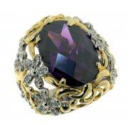 Кольцо женское серебряное 925* позолота родий циркон Арт 15 1892