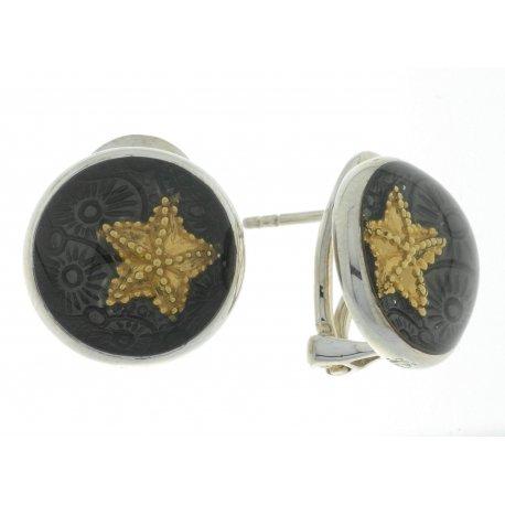Серьги женские серебряные 925* позолота родий эмаль Арт 11 2 5126