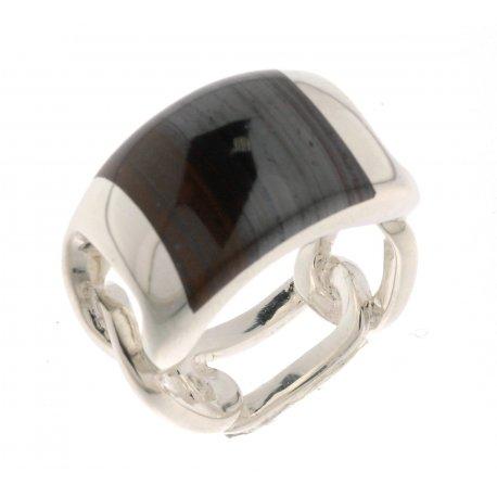 Кольцо женское серебряное 925* родий тигровый глаз Арт 15 2 3131к