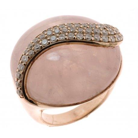 Кольцо женское серебряное 925* позолота цирконий кварц Арт 55 2892Д