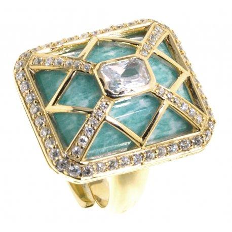 Кольцо женское серебряное 925* позолота амазонит циркон Арт 55 5373