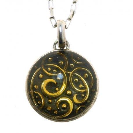 Колье женское серебряное 925* позолота родий эмаль Арт 12 2 7084