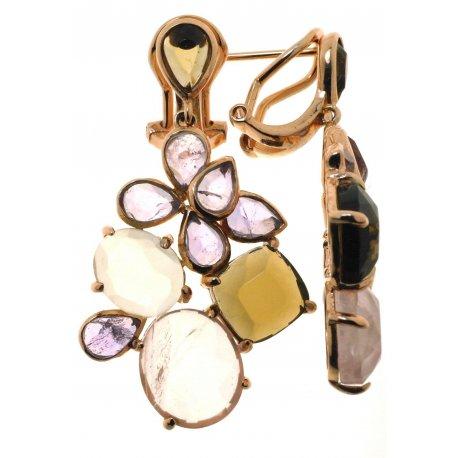 Серьги женские серебряные 925* позолота кварц лемонтрин аметист Арт 51 7687-1