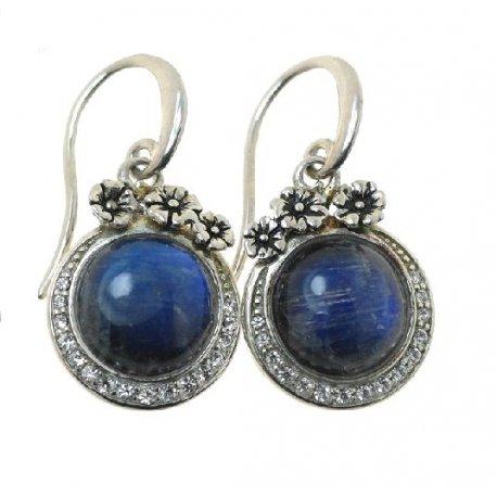 Серьги женские серебряные 925* родий лунный камень кристалл Арт 11 2 4594