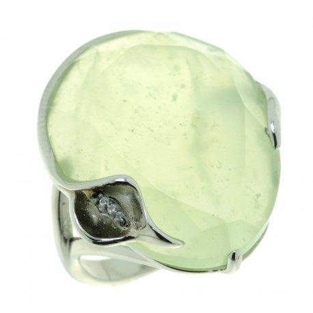 Кольцо женское серебряное 925* родий жадеит циркон Арт 15 6360