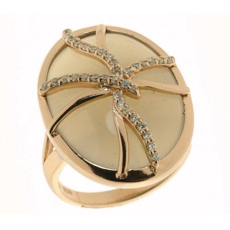 Кольцо женское серебряное 925* позолота цирконий агат Арт 55 5636А