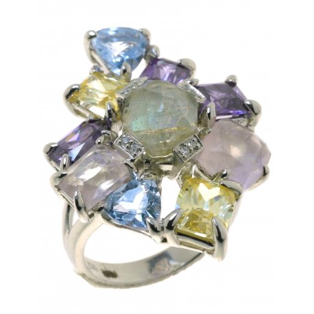 Кольцо женское серебряное 925* родий циркон лабрадорит кварц Арт 15 6546-Х