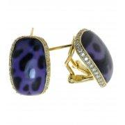 Серьги женские серебряные 925* позолота цирконий эмаль Арт 51 4381А