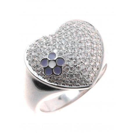 Кольцо женское серебряное 925* родий цирконий эмаль Арт 155 265