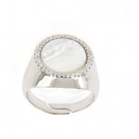 Кольцо женское серебряное 925* родий перламутр Арт 15 4 0339