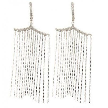 Серьги женские серебряные 925* родий цирконий Арт 11 4 5130