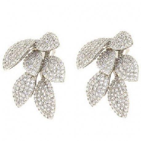 Серьги женские серебряные 925* родий цирконий Арт 11 4 6243