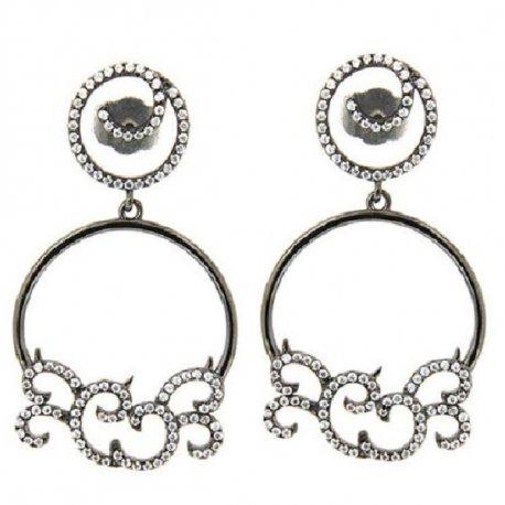 Серьги женские серебряные 925* чернение цирконий Арт 11 4 6830