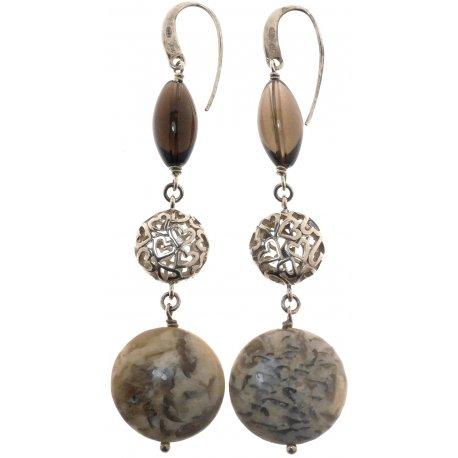Серьги женские серебряные 925* родий яшма кварц Арт 11 2 3891