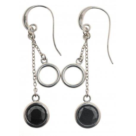 Серьги женские серебряные 925* родий цирконий Арт 11 2 4787
