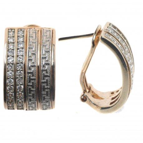 Серьги женские серебряные 925* позолота цирконий Арт 51 1822