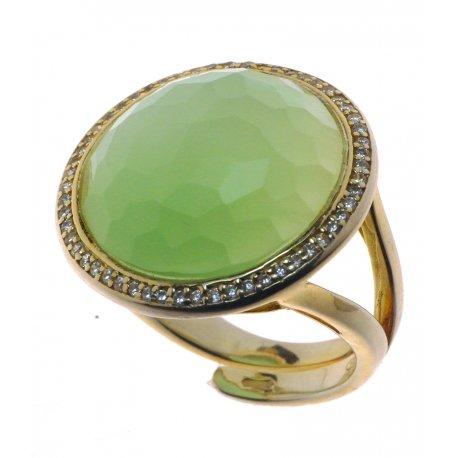 Кольцо женское серебряное 925* позолота кошачий глаз цирконий Арт15 4 0193