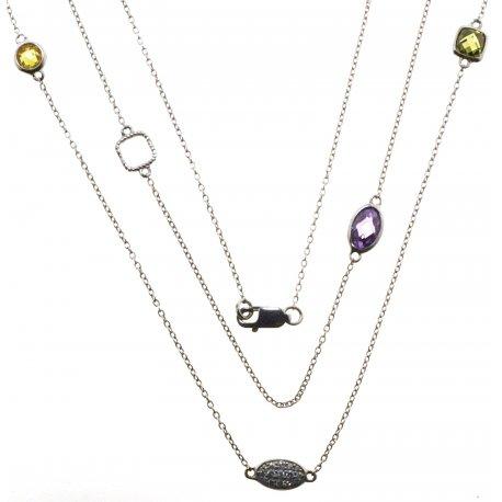 Колье женское серебряное 925* родий цирконий Арт 12 1063